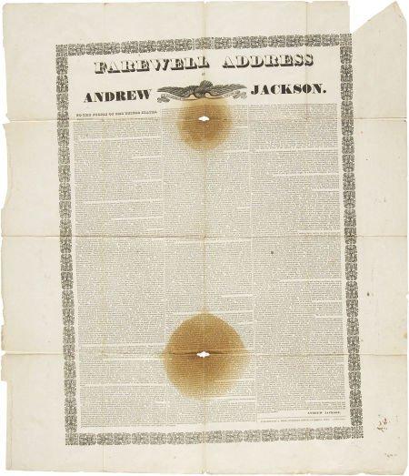 "35255: [Andrew Jackson] Broadside: Farewell Address, ""T"