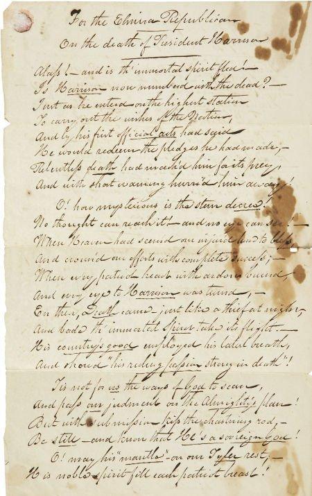 "35258: Jonathan Dayton Steele Autograph Poem ""The Death"