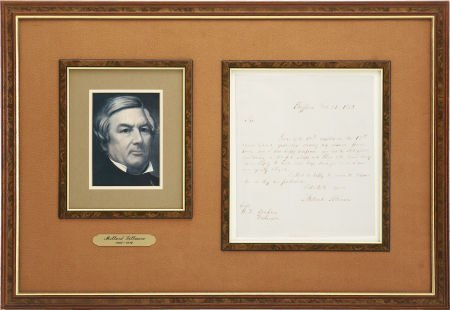 """35261: Millard Fillmore Letter Signed. One page, 8"""" x 9"""