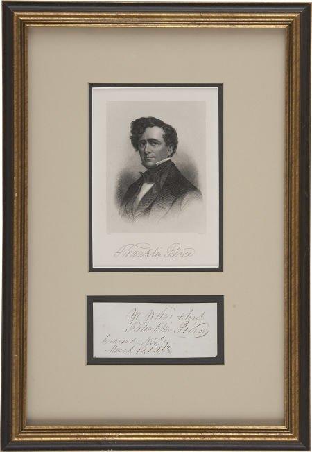 "35262: Franklin Pierce Signature. ""Yr. obedient & Servt"