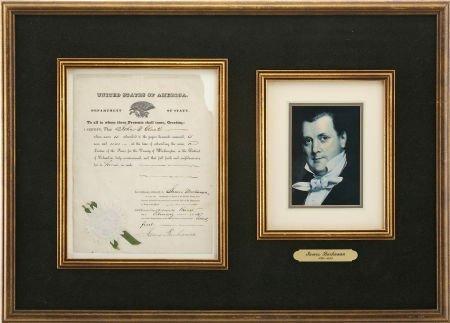35263: James Buchanan Document Signed as secretary of s