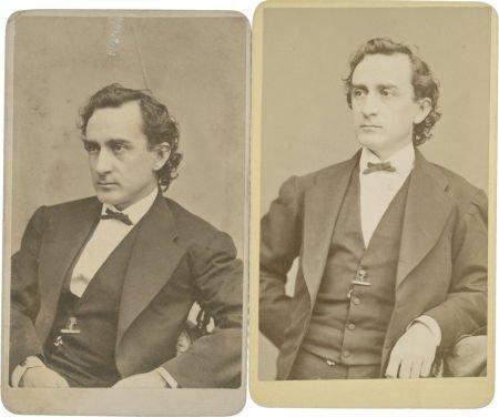 "35414: Edwin Booth, Two Cartes de Visite, each 2.5"" x 4"