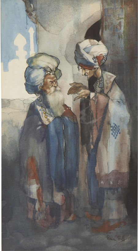 87009: RENE BULL (English 1872 - 1942) Two Arabs in Con