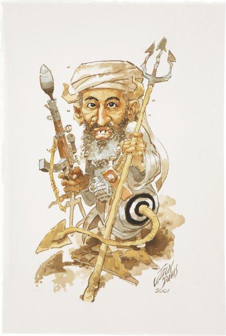 88005: JACK DAVIS (American b. 1926) Bin Laden, 2001 Mi