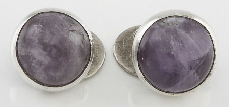 71023: A PAIR OF MEXICAN SILVER AND AMETHYST QUARTZ CUF