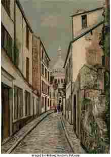 69012: Maurice Utrillo (French, 1883-1955) Rue Saint-Ru