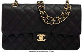 58011: Chanel Black Quilted Caviar Leather Medium Doubl