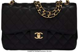 58133: Chanel Black Quilted Caviar Leather Jumbo Double