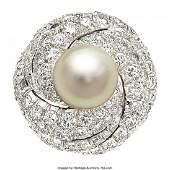 55214 South Sea Cultured Pearl Diamond Platinum Ring