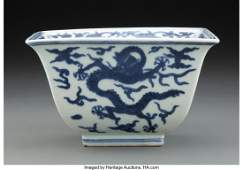 67120: A Chinese Blue and White Dragon Bowl Marks: Six-