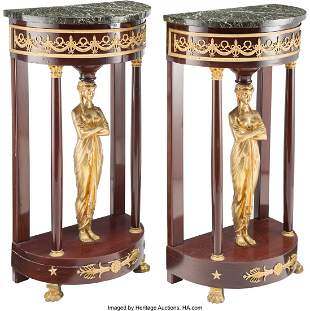 28085: A Pair of Continental Gilt Bronze Mounted Stands