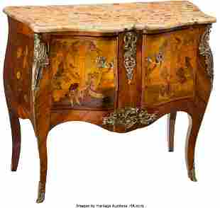 28087: A Louis XV-Style Gilt Bronze Mounted Marquetry I