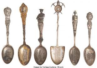 43216: Sterling Spoons: Native American, Political, Min