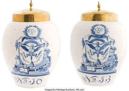 43127: [Franklin D. Roosevelt]: Rare Pair of Delft Jars