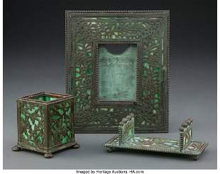 27184: Three American Bronze and Glass Desk Articles, e