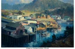 47045: Ralph Love (American, 1907-1992) Fishing Village