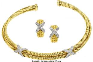 11005: Diamond, Gold Jewelry Suite, David Yurman  The C