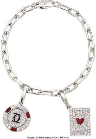 11023: Diamond, Enamel, White Gold Bracelet, Cartier  T