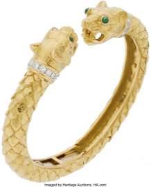 11069: Diamond, Emerald, Platinum, Gold Bracelet, David
