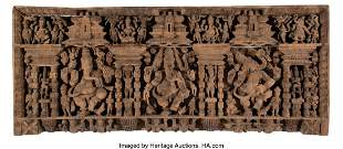 78247: An Indian Carved Wood Ganesha Relief 32 x 76 inc