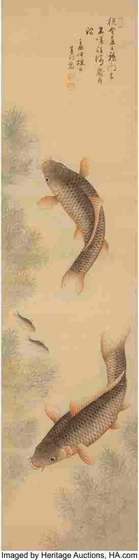 78340: Korean School Fish Ink and color on silk 53-3/4