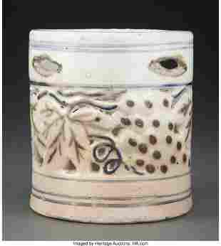 78342: A Korean Glazed Brush Pot 4-7/8 x 4-1/2 inches (