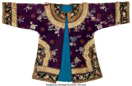78181: A Chinese Purple Ground Embroidered Floral Silk