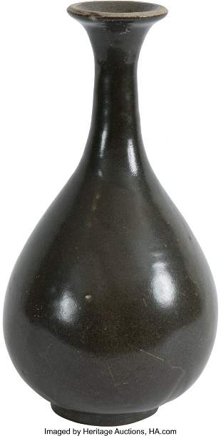 78094: A Chinese Dark Olive-Glazed Yuhuchun Vase, 12th-