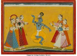 78263: An Indian Miniature Painting Depicting Krishna w