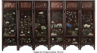 78186: A Chinese Jade and Hardstone-Inlaid Wood Six-Pan