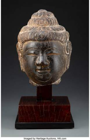 78191: A Chinese Carved Stone Buddha's Head 11-1/2 x 7