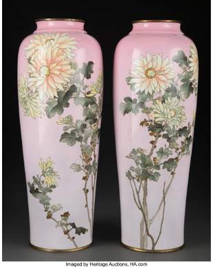 78272: A Pair of Tall Cloisonné-Enamel Vases, At