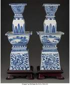78110: A Pair of Chinese Blue and White Porcelain Candl