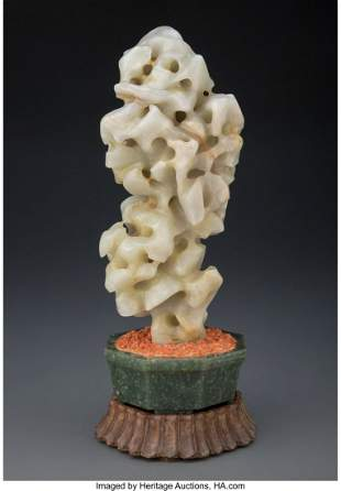 78035: A Chinese Carved Celadon Jade Scholar's Rock 11-
