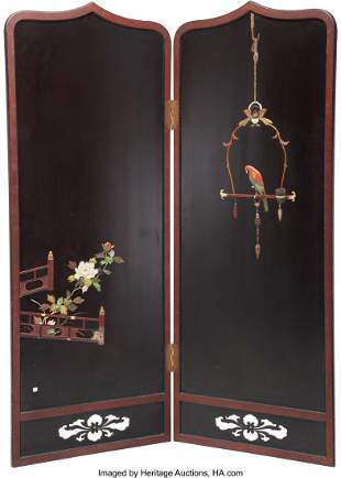 78297: A Japanese Stone Inlaid Two-Panel Screen 73-3/8