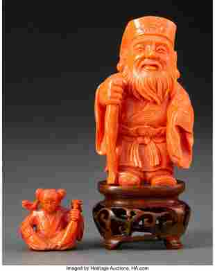 78065: Two Chinese Carved Coral Figures 2-3/4 x 1-1/2 x