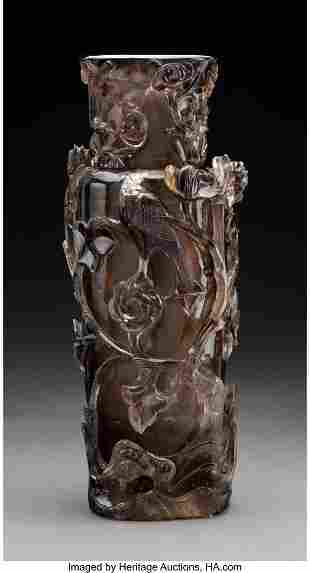 78070: A Large Smokey Rock Crystal Vase 15-3/4 inches (