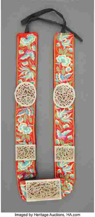 78075: A Chinese Embroidered Belt with Five Carved Jade