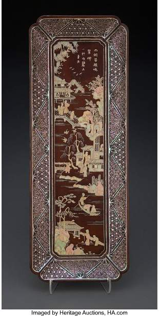 78152: A Chinese Mother-of-Pearl Inlaid Brown Lacquer T