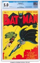 91028: Batman #1 (DC, 1940) CGC VG/FN 5.0 Off-white to