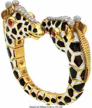 55222: Diamond, Ruby, Enamel, Platinum, Gold Bracelet,