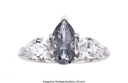 55299: Fancy Blue-Gray Diamond, Diamond, Platinum Ring