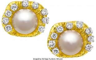 55025: South Sea Cultured Pearl, Diamond, Gold Earrings