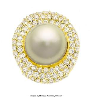 55027: South Sea Cultured Pearl, Diamond, Gold Ring  St