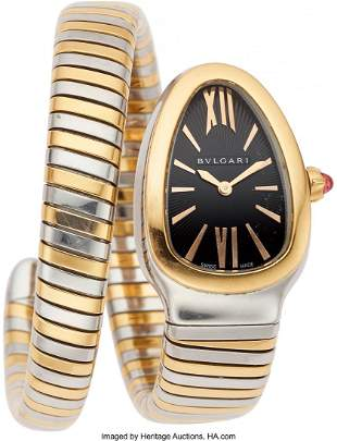 55094: Bvlgari Lady's Rose Gold, Stainless Steel Serpen
