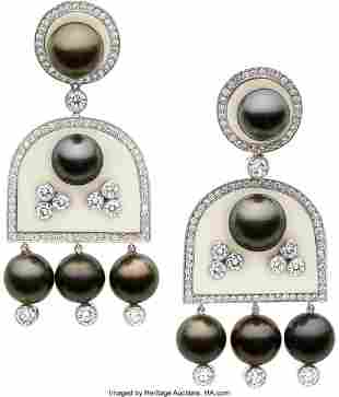 55169: Diamond, South Sea Cultured Pearl, Agate, White