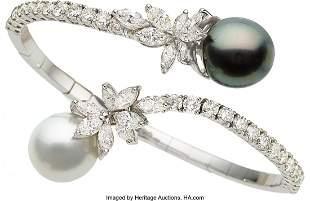 55263: Diamond, South Sea Cultured Pearl, White Gold Br