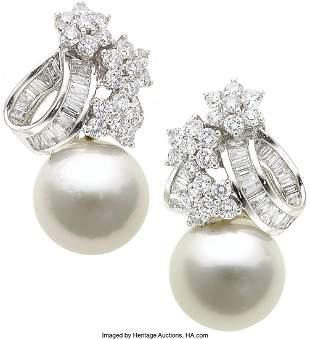 55186: Diamond, South Sea Cultured Pearl, White Gold Ea