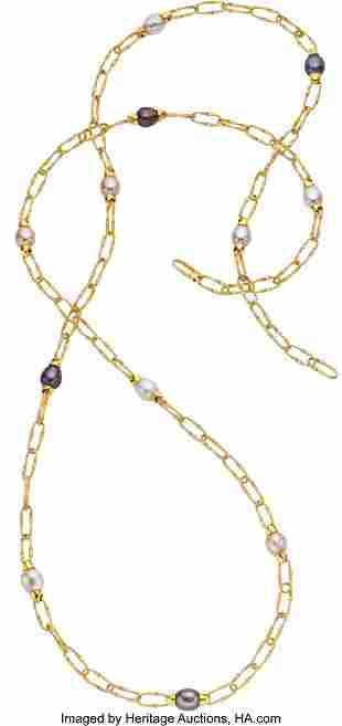 55265: Freshwater Cultured Pearl, Gold Necklace, Marco