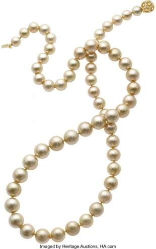55192: South Sea Cultured Pearl, Diamond, Gold Necklace